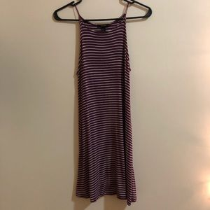 Maroon and White Striped Loose Dress